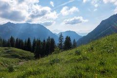 Paisagem do panorama em Baviera com montanhas dos cumes e no prado na mola Imagem de Stock