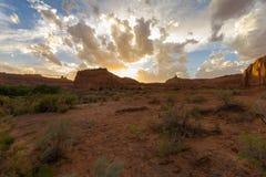 Paisagem do parque nacional no por do sol, EUA dos arcos Fotografia de Stock Royalty Free