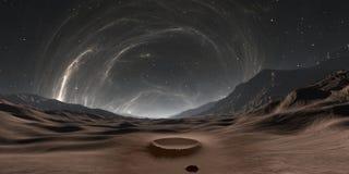 Paisagem do planeta de Mercury Por do sol em Mercury com corona do sol ilustração stock