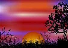 Paisagem do por do sol Imagens de Stock Royalty Free