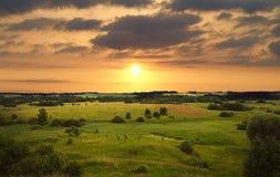 Paisagem do por do sol Fotografia de Stock