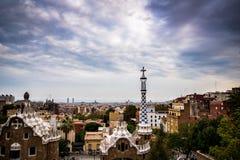 Paisagem do por do sol de Barcelona foto de stock