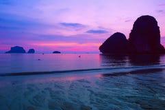 Paisagem do por do sol do mar Fotografia de Stock