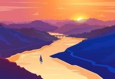 Paisagem do por do sol Ilustração do vetor Fotografia de Stock