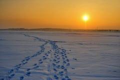 Paisagem do por do sol com poluição atmosférica, lago congelado acima da poluição do ar coberto pela neve imagens de stock