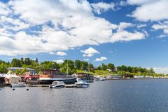 Paisagem do porto de Lappeenranta, Finlandia imagens de stock