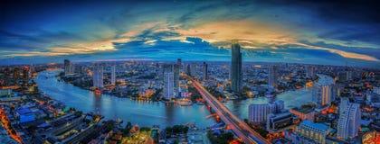 Paisagem do rio na cidade de Banguecoque Fotografia de Stock