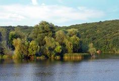 Paisagem do sagacidade gramínea verde dos montes, das árvores, do rio e do céu azul Foto de Stock Royalty Free