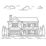 Paisagem do subúrbio com a casa separada privada, jarda no fundo branco Foto de Stock Royalty Free