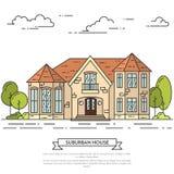 Paisagem do subúrbio com a casa separada privada, jarda no fundo branco Imagem de Stock Royalty Free