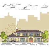 Paisagem do subúrbio com a casa separada privada, jarda no fundo da cidade Imagens de Stock Royalty Free