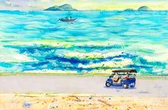 Paisagem do táxi do tuk de Tuk, curso da pintura de turista no mar Imagem de Stock