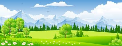 Paisagem do verão com árvores ilustração royalty free