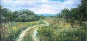 Paisagem do verão com árvores e arbustos ilustração do vetor