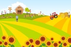 Paisagem do verão com animais de estimação e celeiro Rebanhos animais e um grupo de fazendeiros e de jardineiro Férias de verão n ilustração royalty free