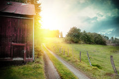 Paisagem do verão com celeiro e a estrada secundária velhos Fotografia de Stock Royalty Free