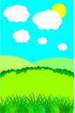 Paisagem do verão com nuvens Fotos de Stock Royalty Free
