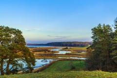 Paisagem do verão com rio e árvores Fotos de Stock