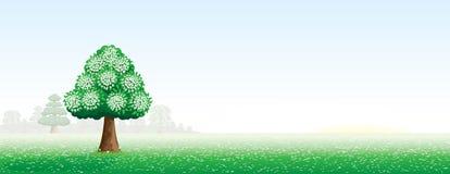 Paisagem do verão com uma árvore Ilustração Royalty Free