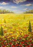 A paisagem do verão da pintura a óleo de um campo vermelho da papoila da flor do ogange, céu azul nubla-se ilustração do vetor
