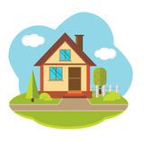 Paisagem do vetor com casa bonita Imagem de Stock Royalty Free