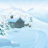 Paisagem do vetor do inverno Fotos de Stock Royalty Free