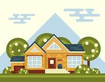 Paisagem do vetor do verão com casa e árvore dentro ilustração do vetor