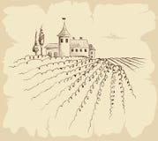 Paisagem do vintage com fazenda Fotografia de Stock