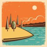 Paisagem do vintage com lago azul Fotos de Stock Royalty Free