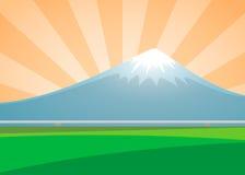 Paisagem do vulcão de Fuji no dia do sunburst do fundo Foto de Stock Royalty Free