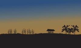 Paisagem dos campos no por do sol Fotografia de Stock