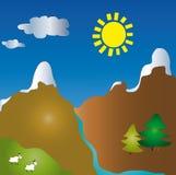 Paisagem dos desenhos animados da montanha ilustração stock