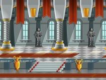 A paisagem dos desenhos animados dentro do castelo do cavaleiro, vector o fundo infinito com camadas separadas ilustração royalty free
