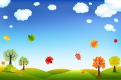 Paisagem dos desenhos animados do outono Fotos de Stock