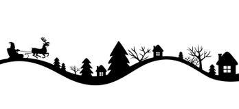 Paisagem dos invernos com trenó de Santa ilustração stock