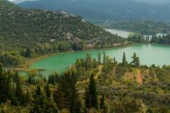 Paisagem dos lagos croatia Fotografia de Stock