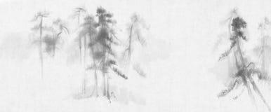 Paisagem dos pinheiros da pintura chinesa ilustração do vetor
