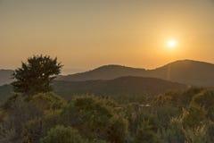 Paisagem dos pores do sol de Sithonia, Chalkidiki, Sithonia, Macedônia central Imagem de Stock Royalty Free