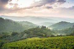 Paisagem dramática da noite de Tuscan Imagem de Stock