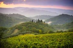 Paisagem dramática da noite de Tuscan Fotos de Stock Royalty Free