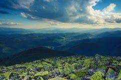 Paisagem dramática de Carpathians Fotos de Stock Royalty Free