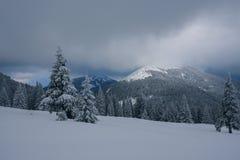 Paisagem dramática - noite do inverno nas montanhas na véspera Imagens de Stock Royalty Free