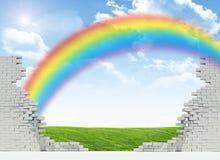 Paisagem e arco-íris em parede quebrada Fotos de Stock
