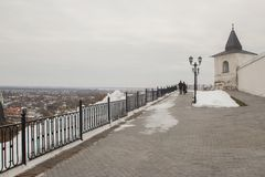 Paisagem e arquitetura dentro do Kremlin de Tobolsk foto de stock royalty free