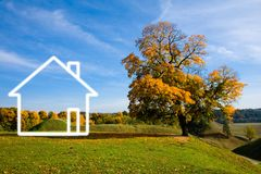 Paisagem e casa do campo Imagens de Stock Royalty Free