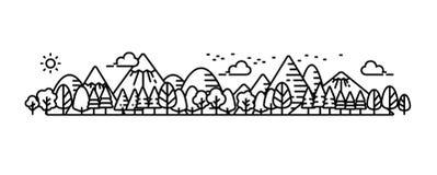 Paisagem e opinião ou tela panorâmico do panorama ilustração stock