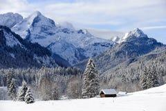 Paisagem em Baviera com as montanhas no inverno Imagem de Stock