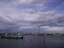 Paisagem em Chao Phraya River em Tailândia Fotografia de Stock Royalty Free