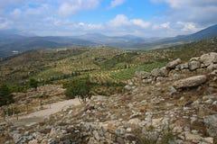 Paisagem em torno de Mycenae e da cidade antiga Imagens de Stock Royalty Free