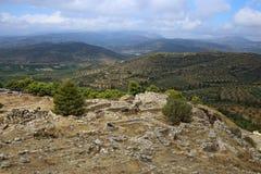 Paisagem em torno de Mycenae e de ruína Foto de Stock Royalty Free